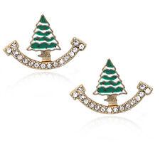 Post Stud Earrings Holiday Jewelry Gift Tiny Christmas Tree Charm Ear Jacket