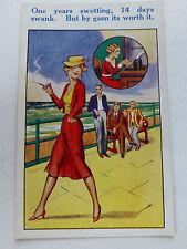 Lot21E c1930 '1 Years Swatting, 14 Days Swank' OFFICE GIRL ' POSTCARD