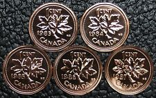CANADIAN GEM 1 CENT PENNIES - LOT OF 5 - 1983-1987 - Pulled from PL Sets - NCC