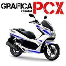 KIT ADESIVI DECAL STICKERS HONDA PCX 125 150 RACING CARENE BLU ADESIVO GRAFICHE