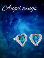 Sterling Silver Blue Topaz 6mm Heart Stud Earrings