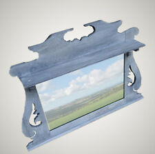 Refurbished Antique Oak Over Mantel Wall Mirror / Blue Paint Washed
