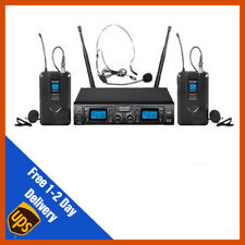 Pulse UHF Dual Headset Lavalier Wireless Microphone Mic System | DJ | PA