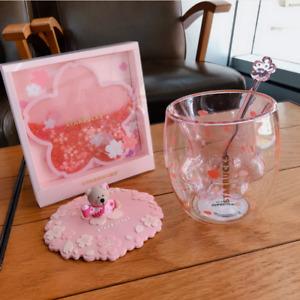 Hot New Pink Sakura Cup Starbucks Coffee Glass Mug Stir Rod Stick Lid w/ Coaster