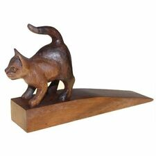 Hand Carved Wooden Cat Bali Doorstop Door Stop Stopper Wedge Kitten Familiar