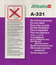 ALITALIA Team Italian Airline A 321 SAFETY CARD 11/96 folder brochure sc836 aa