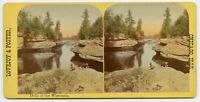 Dells of Wisconsin Stereoview Photo by Lovejoy & Foster with Troy N.Y. Ad