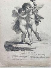 Amore e Psyche. acquaforte XIX secolo. FORGET: Francia
