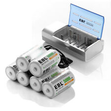 6x EBL C Size Cell Rechargeable Batteries + AA/AAA D 9V NiMH/CD Battery Charger