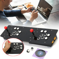 Double Arcade Stick Video Game Joystick Controller For PC USB Black Acrylic