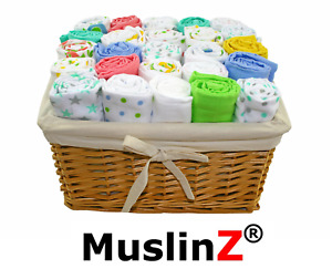 MuslinZ 3PK Baby Muslin Square 70x70cms Pure Soft Cotton - Various Combinations