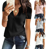 Women Ladies Short Sleeve Split V-Neck Waffle Knit Pullover Top Blouse T-Shirt