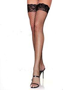 Leg Avenue Thigh High Nylon/Spandex  Black Fishnet Stockings W/ Lace Top Plus