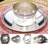 """Antique French .800 (nearly sterling) Silver Tea Cup & Saucer, Large """"Monique"""""""