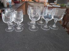 6 verres à Porto année 30 de bristro verre moulé à facettes 10 cm haut