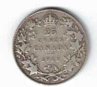 CANADA 1913 TWENTY FIVE CENTS QUARTER KING GEORGE V STERLING SILVER COIN