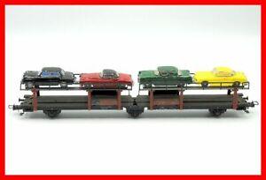 H0 1:87--Fleischmann Autotransport-Wagen Laes-55 DB Ep. III mit 4 PKW DC