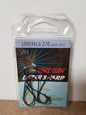 Eagle Claw Lazer Sharp Black Hooks Size 2/0 L095XBLG PACK OF 8 HOOKS