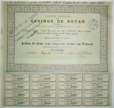 Société des CASINOS de ROYAN action de 250 Frs 1898  Rare