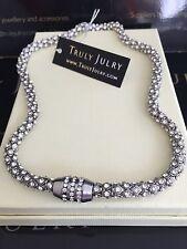 Ladies Designer Diamanté Silver Necklace Magnetic Fastening Jewellery Gift UK