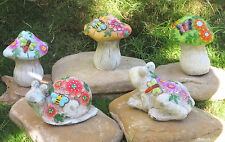 Mushroom 5 Pc Set Gnome Garden Outdoor Decor Snail Frog Statue Cement  110Z