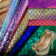 Holographic Mermaid Scale Fabric PU Leather Foil DIY Bow Crafts Making Decor