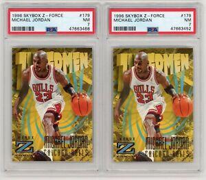 (2) Card Lot 1996 Skybox Z-Force Michael Jordan #179 PSA 7 NRMT Graded