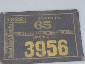 1922 Pennsylvania Cloth Hunting License,   Westmoreland  County #65