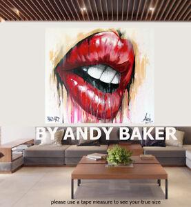 street  art painting print signed Andy Baker Beach Australia red lips breathe