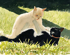 """AFTERNOON ROMP"" - BLACK WHITE CAT MINI ART PRINT BY DREW STROUBLE CATMANDREW"