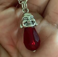 Silver Happy Compassion Buddha Head Faceted Red Crystal Pendant  Charm 1 Gift