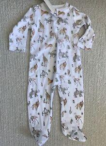 NWT Sammy + Nat Baby Safari animals Footie Pajamas 6m Snap Boutique Pima cotton