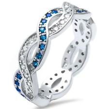 Band .925 Sterling Silver Ring Blue Sapphire & Cubic Zirconia Infinity