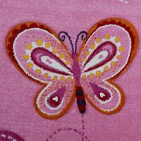 Girls Pink Bedroom Rug Butterfly  Heart Baby Playroom Carpet Small Extra Large X