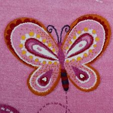 Girls Pink Bedroom Rug Butterfly Heart Baby Playroom Carpet Small Extra Large X 80x150cm