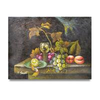 NY Art - Columbian Fruit & Wine Table 12x16 Original Oil Painting on Canvas!