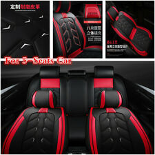 Black/Red Luxury Leather 5-Seat Car Seat Cover Cushion For Interior Accessories