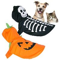 Pet Halloween Costume Dog Cat Fancy Dress Outfit One Size Hood Spooky Gift Party