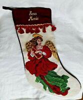 Needlepoint & Burgundy Velvet Angel Christmas Stocking--Embroidered Sara Marie