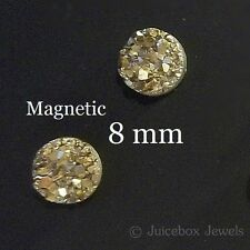 MAGNETIC Gold Faux Druzy, Fools Gold, Non Pierced 8mm Stud Trendy Earrings M180