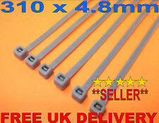 16 x Silver/Grey Cable Ties 310 x 4.8mm Extra Long ~ Wheel Trim Security ~