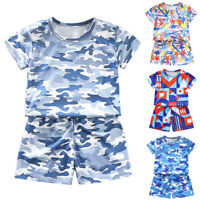 Infant Baby Boys Girls Camo Short Sleeve T-Shirt Top + Shorts Outfit Clothes Set