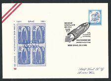 1981 Austria rocket mail commemorative cover - Schmiedl R-1 sheet, V-7, Graz