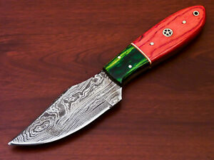 AWESOME HAND MADE DAMASCUS STEEL HUNTING KNIFE-HARD WOOD HANDLE-AD-6403