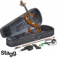 NEW Stagg EVN 4/4 S-Shaped Electric Violin VIOLINBURST + Case, Rosin, Bow,