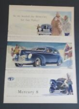 Original 1940 Print Ad MERCURY 8 Sun Valley Car Auto Skiing Sedan 4 Door