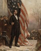 ABRAHAM LINCOLN WITH AMERICAN FLAG PAINTING 8x10 SILVER HALIDE PHOTO PRINT