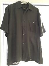 100% Pure Silk Men's Dark olive green ? Shirt Size Asian L Brand New