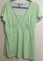 Nine & Co by Nine West Women's Size XL Green/White Short Sleeved Blouse Top