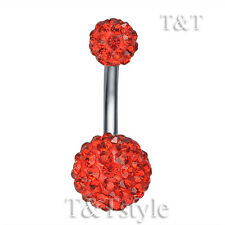T&T 10mm Red Swarovski Crystal Ball Belly Bar Ring BL138E